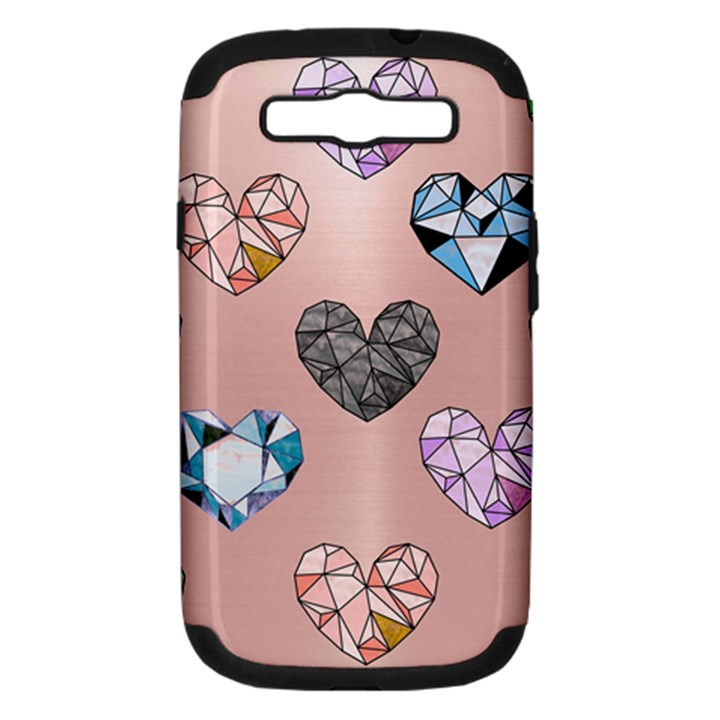 gem hearts and rose gold Samsung Galaxy S III Hardshell Case (PC+Silicone)