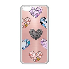Gem Hearts And Rose Gold Apple Iphone 5c Seamless Case (white) by 8fugoso