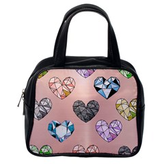 Gem Hearts And Rose Gold Classic Handbags (one Side) by 8fugoso