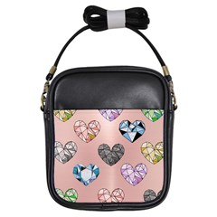 Gem Hearts And Rose Gold Girls Sling Bags by 8fugoso