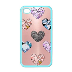 Gem Hearts And Rose Gold Apple Iphone 4 Case (color) by 8fugoso