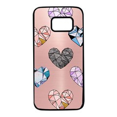 Gem Hearts And Rose Gold Samsung Galaxy S7 Black Seamless Case by 8fugoso
