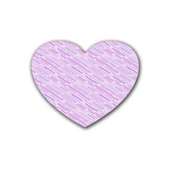 Silly Stripes Lilac Heart Coaster (4 Pack)  by snowwhitegirl