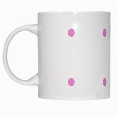 Pink Dots White Mugs