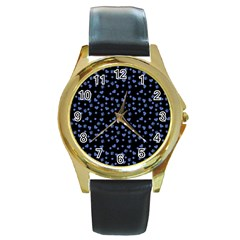 Blue Hearts Round Gold Metal Watch by snowwhitegirl