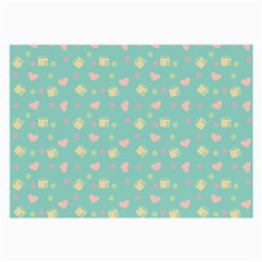 Teal Milk Hearts Large Glasses Cloth