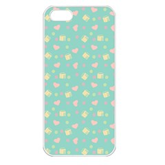 Teal Milk Hearts Apple Iphone 5 Seamless Case (white) by snowwhitegirl