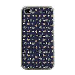 Blue Milk Hearts Apple Iphone 4 Case (clear)