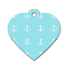 Aqua Anchor Dog Tag Heart (one Side) by snowwhitegirl