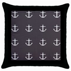 Grey Anchors Throw Pillow Case (black) by snowwhitegirl