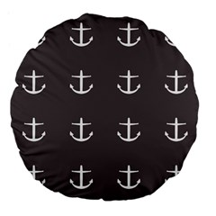 Grey Anchors Large 18  Premium Flano Round Cushions by snowwhitegirl