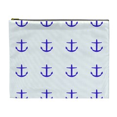 Royal Anchors On White Cosmetic Bag (xl) by snowwhitegirl