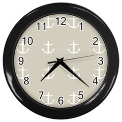 Lt Grey Anchors Wall Clock (black)