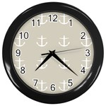 Lt Grey Anchors Wall Clock (Black) Front