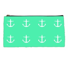 Seafoam Anchors Pencil Cases by snowwhitegirl