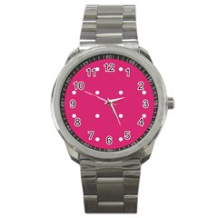 Small Pink Dot Sport Metal Watch by snowwhitegirl