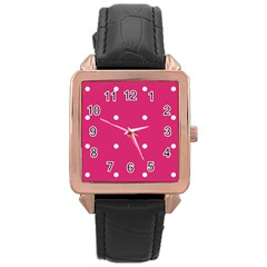 Small Pink Dot Rose Gold Leather Watch  by snowwhitegirl