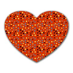 Red Retro Dots Heart Mousepads by snowwhitegirl