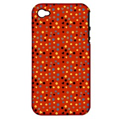 Red Retro Dots Apple Iphone 4/4s Hardshell Case (pc+silicone) by snowwhitegirl