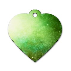 Galaxy Green Dog Tag Heart (one Side) by snowwhitegirl