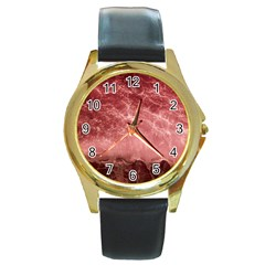 Red  Ocean Splash Round Gold Metal Watch by snowwhitegirl