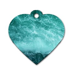 Green Ocean Splash Dog Tag Heart (two Sides)