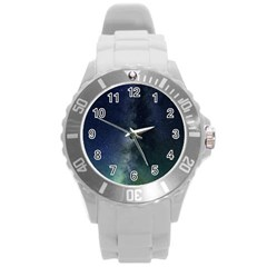 Galaxy Sky Round Plastic Sport Watch (l) by snowwhitegirl