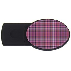 Pink Plaid Usb Flash Drive Oval (4 Gb) by snowwhitegirl