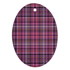 Pink Plaid Oval Ornament (two Sides) by snowwhitegirl