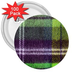 Neon Green Plaid Flannel 3  Buttons (100 Pack)  by snowwhitegirl