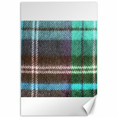 Blue Plaid Flannel Canvas 24  X 36