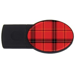 Red Plaid Usb Flash Drive Oval (4 Gb) by snowwhitegirl