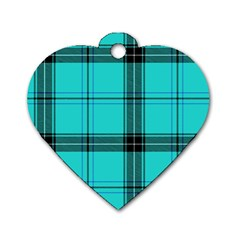 Aqua Plaid Dog Tag Heart (one Side) by snowwhitegirl