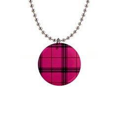 Dark Pink Plaid Button Necklaces by snowwhitegirl