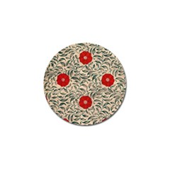 Papanese Floral Red Golf Ball Marker (4 Pack) by snowwhitegirl