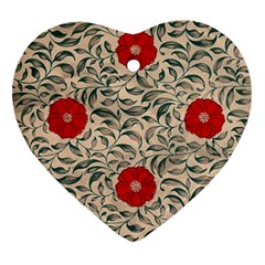 Papanese Floral Red Heart Ornament (two Sides) by snowwhitegirl