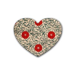 Papanese Floral Red Rubber Coaster (heart)