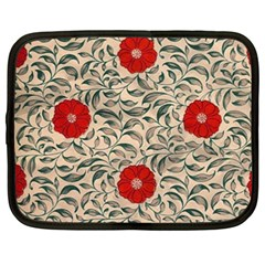 Papanese Floral Red Netbook Case (large) by snowwhitegirl
