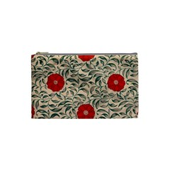 Papanese Floral Red Cosmetic Bag (small) by snowwhitegirl