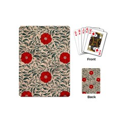 Papanese Floral Red Playing Cards (mini)  by snowwhitegirl