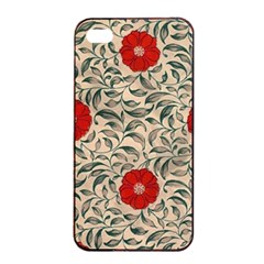 Papanese Floral Red Apple Iphone 4/4s Seamless Case (black) by snowwhitegirl