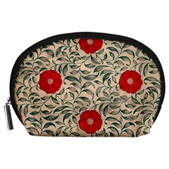 Papanese Floral Red Accessory Pouch (large) by snowwhitegirl