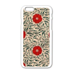 Papanese Floral Red Apple Iphone 6/6s White Enamel Case by snowwhitegirl