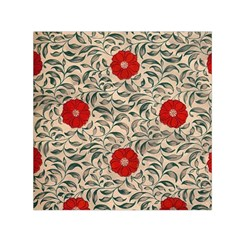 Papanese Floral Red Small Satin Scarf (square) by snowwhitegirl