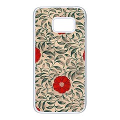 Papanese Floral Red Samsung Galaxy S7 White Seamless Case by snowwhitegirl
