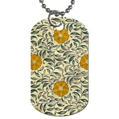 Japanese Floral Orange Dog Tag (two Sides) by snowwhitegirl