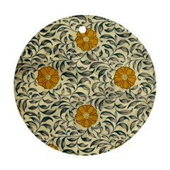 Japanese Floral Orange Round Ornament (two Sides)