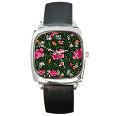 Pink Japan Floral Square Metal Watch by snowwhitegirl