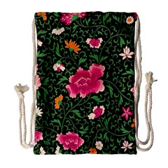 Pink Japan Floral Drawstring Bag (large) by snowwhitegirl