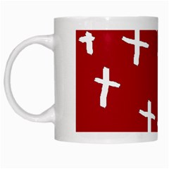 Red White Cross White Mugs by snowwhitegirl